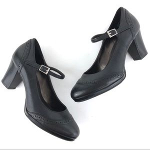 Rockport oxford Mary Janes heels leather black 6
